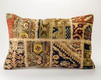 Vintage patchwork rug pillow   27'' x 18'' (45 cm x 70 cm)