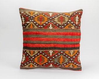 Vintage, wool, hand woven Kilim pillow 20'' x 20'' (50 cm x 50 cm)