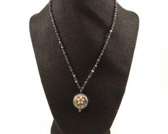 Vintage Beaded Cloisonne Pendant Necklace, Vintage Jewelry