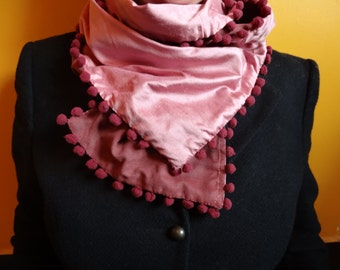 Scarf silk pink and old rose with trimmings Macef - pink silk scarf