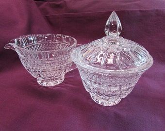 Large Clear Glass Creamer and Sugar Bowl