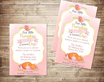 My little pumpkin invitation - fall - birthday - invite