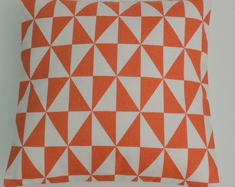 "Geometric Orange and White Bright Triangles Cushion Cover 16"" / 40cm"