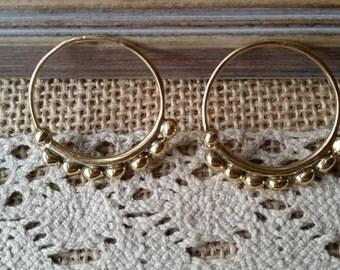 Pair of hoop earrings gypsy brass