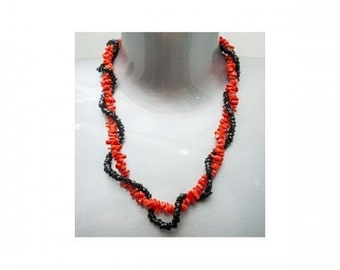 Necklace Mineralife double row in coral and Jet