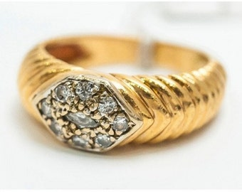 Ring old Mineralife in yellow gold and diamonds