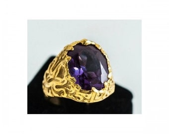 Ring mass Mineralife in yellow gold and synthetic alexandrite