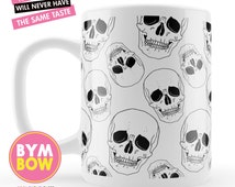 SKULL Coffee Mug, Halloween Mug, Gothic Coffee Mug, Printed Mug, Unique Coffee Mug, Ceramic Mug, Cool Mug, Awesome Mug, Original Mug