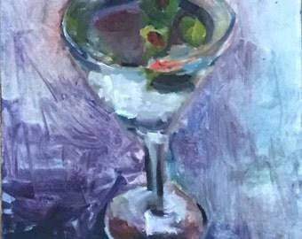 Martini, Olives, Still Life, Original Oil, 10 x 10