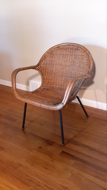 Mid Century Modern Rattan Basket Bucket Chair