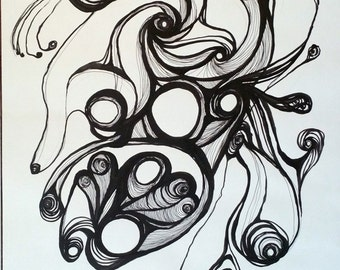 Abstract Indian Ink Drawing