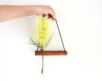 hanging shelf, hanging vase, mini shelf, test tube, wall vase, reclaimed wood, hanging plant, minimalist decor, minimal