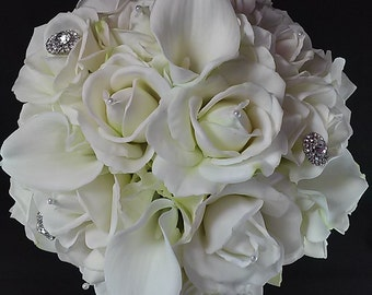 White Real Touch Rose Bridal Bouquet-White Bridal Bouquet-Bridesmaid Bouquet-Silk Flower Wedding Bouquet