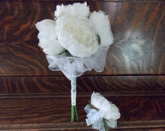 Silk Peony Bouquet - Bridal Bouquet - Wedding Bouquet - Bridesmaid Bouquet - Toss Bouquet - Throw Bouquet - Vintage Inspired - 6 Blooms