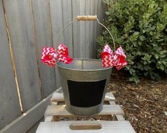 Chalkboard Bucket - Wedding Bucket - Wedding Chalkboard - Wedding Pail - Favors Bucket - Country Wedding - Rustic Wedding - Chevron Bow