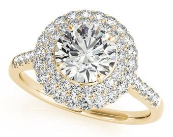 14kt Gold Double Halo Design Diamond Engagement Ring #50844-E-B