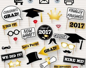 Graduation Photo Booth Printable Props - 2017 Graduation Party - Instant Download Graduation Photo Booth Props 2017 - Graduation Party Props