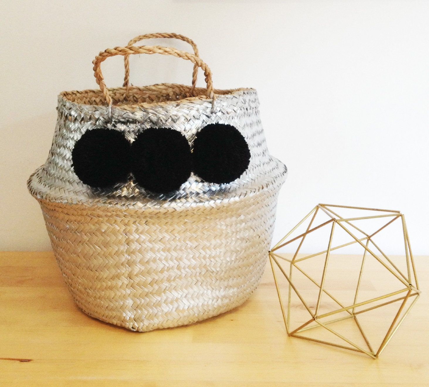 pom pom silver black sea grass belly basket panier boule. Black Bedroom Furniture Sets. Home Design Ideas