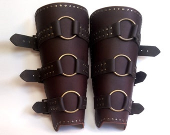Leggings leather with rings, piece of medieval armor, Shin, leg warmers
