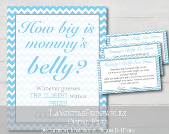 Baby shower, Baby shower games, how big is mommys belly, Baby shower games printable, blue baby shower, guessing game, belly size game BS02