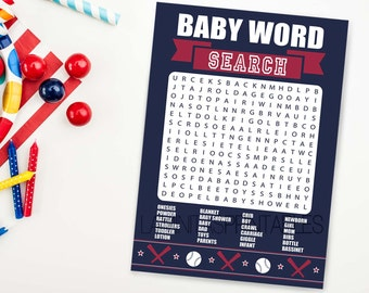 Baseball baby shower game word search, baseball baby shower, sports baby shower, navy baby shower, baby shower activity BB0116