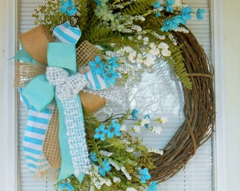 Spring wreath, Easter wreath, Grapevine wreath, Summer wreath, Double door wreath, Spring wildflower wreath, Turquoise wreath, Spring decor