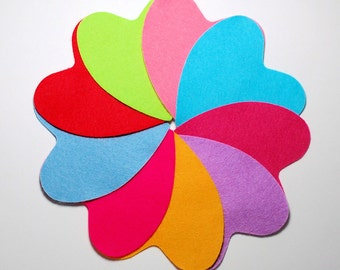9 x Die Cut Felt Hearts