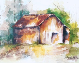 Old Barn Watercolor Print, Weathered Barn, Rustic Barn, Autumn Barn, Prairie Barn, Antique Barn, Collectible Barns, Rustic Design, Gift item