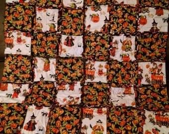 Boo Bears by RJR Fabrics Halloween Rag Throw Quilt - Custom Completion