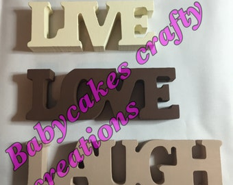 live, love, laugh ivory freestanding words