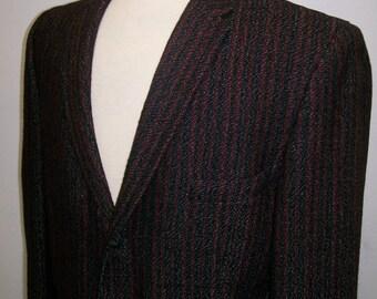 1950's men's red and black tweed sport coat 41S