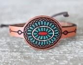 Boho Leather Bracelet - Boho Leather Cuff - Leather Bracelet- Leather Cuff- Turquoise -Bohemian/Gypsy/Hippie