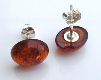 Amber studs earrings. 8x10 mm. Baltic amber.  925 Sterling Silver. Earrings. Baltic Amber Earrings. Amber jewelry. Amber earrings. Handmade