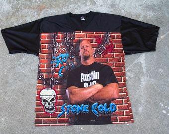 Vtg WWF Stone Cold Steve Austin Jersey Sz. L
