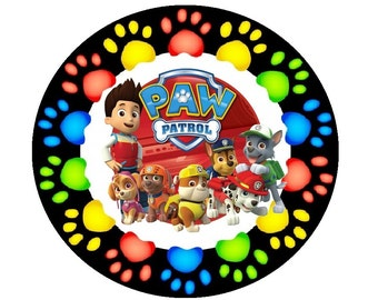 """Paw Patrol 7.5"""" Rice Paper Birthday Cake Topper Edible wafer- Rice Paper Cake Decoration"""