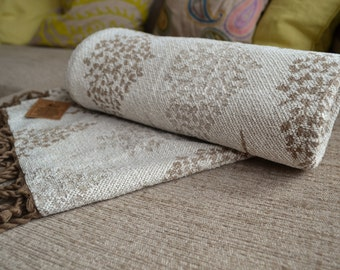 Beige Brown Birch Tree Chenille Throw with Tassels - 150cm x 130cm