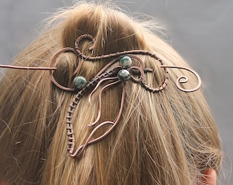 Hair Stick Barrette, Copper Wire Leaf China Jade Stones, Unusual Hair Accessories for Women, Hair Clip, Hair Barrette, Unusual Gift for Her