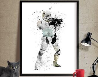 Star Wars Poster, Stormtrooper Art Print,  Star Wars Art, Star Wars Wall Art, star wars helmet, Illustration, boyfriend gift, Wall art (332)