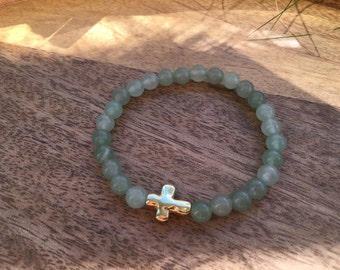 Green Aventurine Elastic Beaded Bracelet with Gold Cross