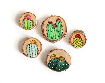 Set of Five Hand-Painted Cactus Decorative Magnets on Wood | Made to Order