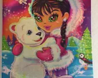 Vintage Lisa Frank Binder Eskimo Polar Bear 90s Sparkle 3 ring