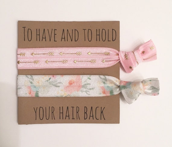 Bridesmaid hair tie favors//hair tie card, elastic hair ties, bridesmaid gift, bachelorette gift, party favor, baby shower favor