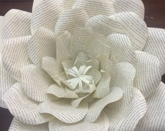 Set of Book Page Paper Flowers