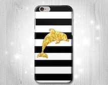 Black and White Striped Gold Dolphin iPhone 6S 6 Plus 6+ SE 5 5S 5C 4 Htc One M8 M7 Samsung Galaxy S7 S6 Edge+ S5 S4 S3 mini Note 5 4 3 Case
