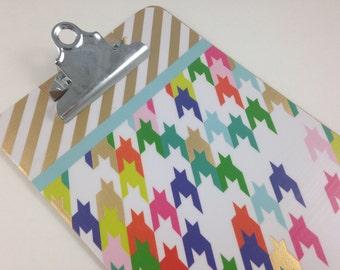 Mini Clipboard, Gold Stripes and Houndstooth, Cute Desk Organization, Teacher Gift, Unique School Supplies