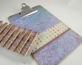 Purple Clipboard Set, Mini Clipboard and Set of Clothespins, Maps and Polka Dots, Cute Desk Accessories, Decoupage Clips