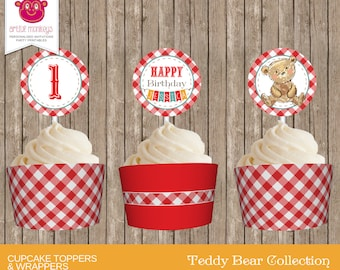Personalised Teddy Bear's Picnic  Cupcake Toppers and Wrappers - DIY Printable