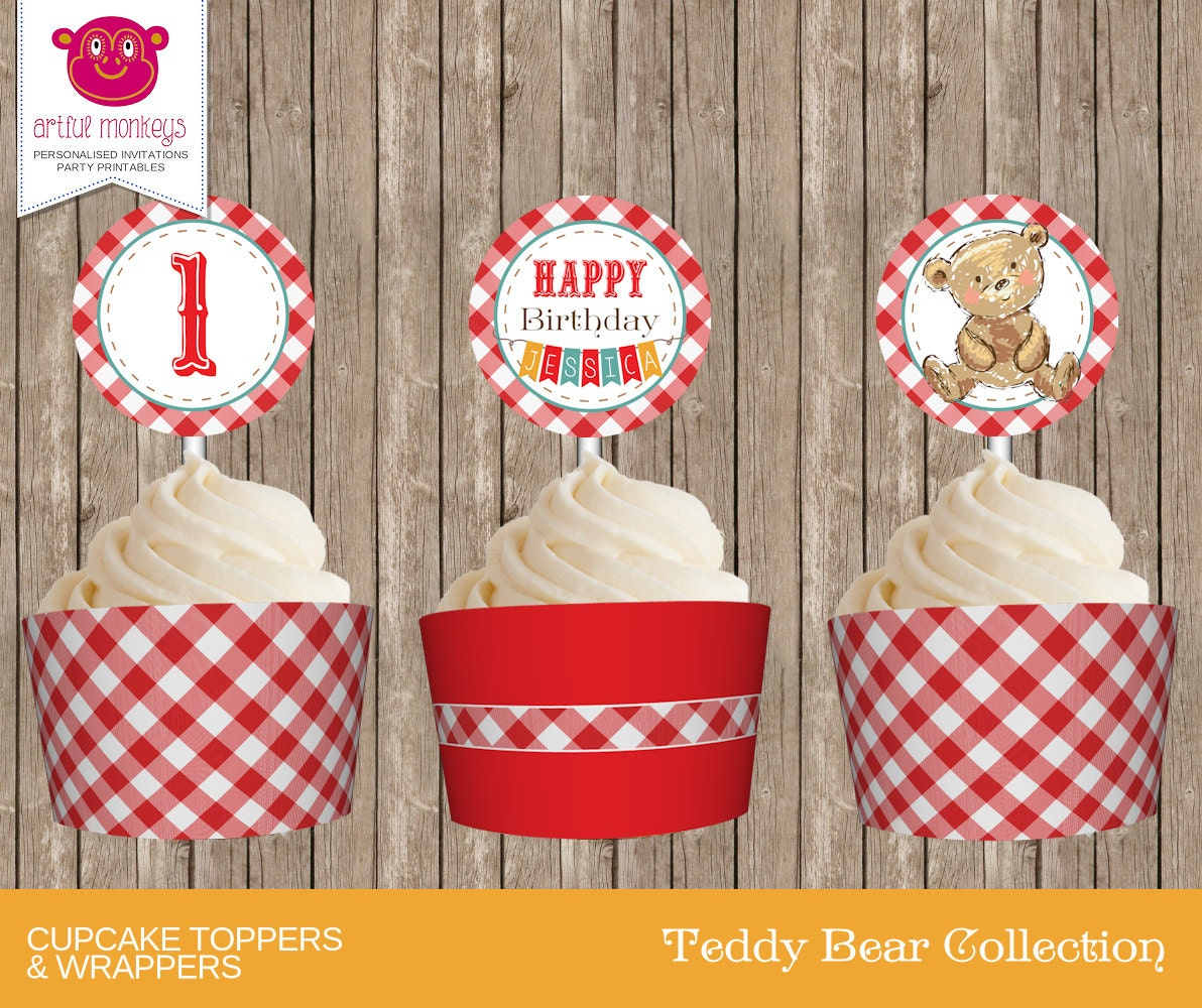 Printable Teddy Bear\'s Picnic Cupcake Toppers and Wrappers ...