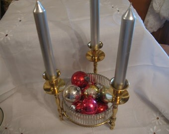 Table centerpiece candlestick in brass and crystal glass Teleflora United States.