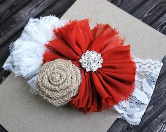 Texas Longhorns baby headband, burnt orange burlap lace baby bow, newborn Longhorns headband, UT baby bow